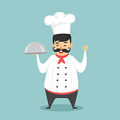 Cartoon character chef isolated on white background. Chef holding food delivery. Vector stock