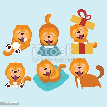 Cartoon character chow chow dog poses. Cartoon character chow chow dog poses.