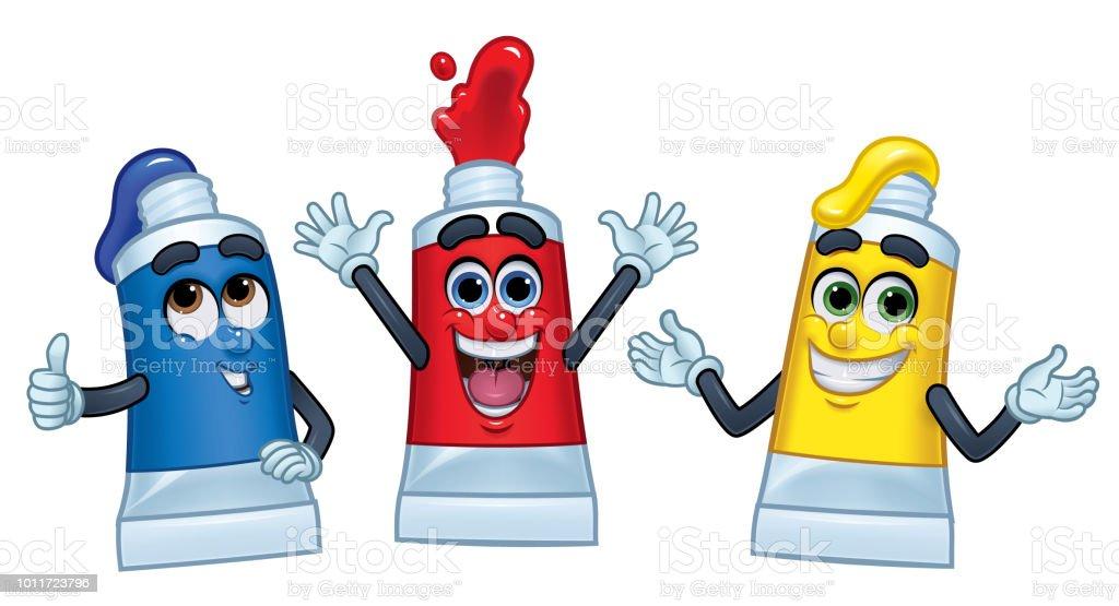 3 Cartoon Charakter Farbe Farbtuben: rot, gelb, & Blue_Vector Illustration EPS 10 – Vektorgrafik