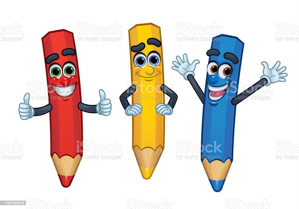 Ilustración de Lápices De Color De Personaje De Dibujos Animados 3 ...