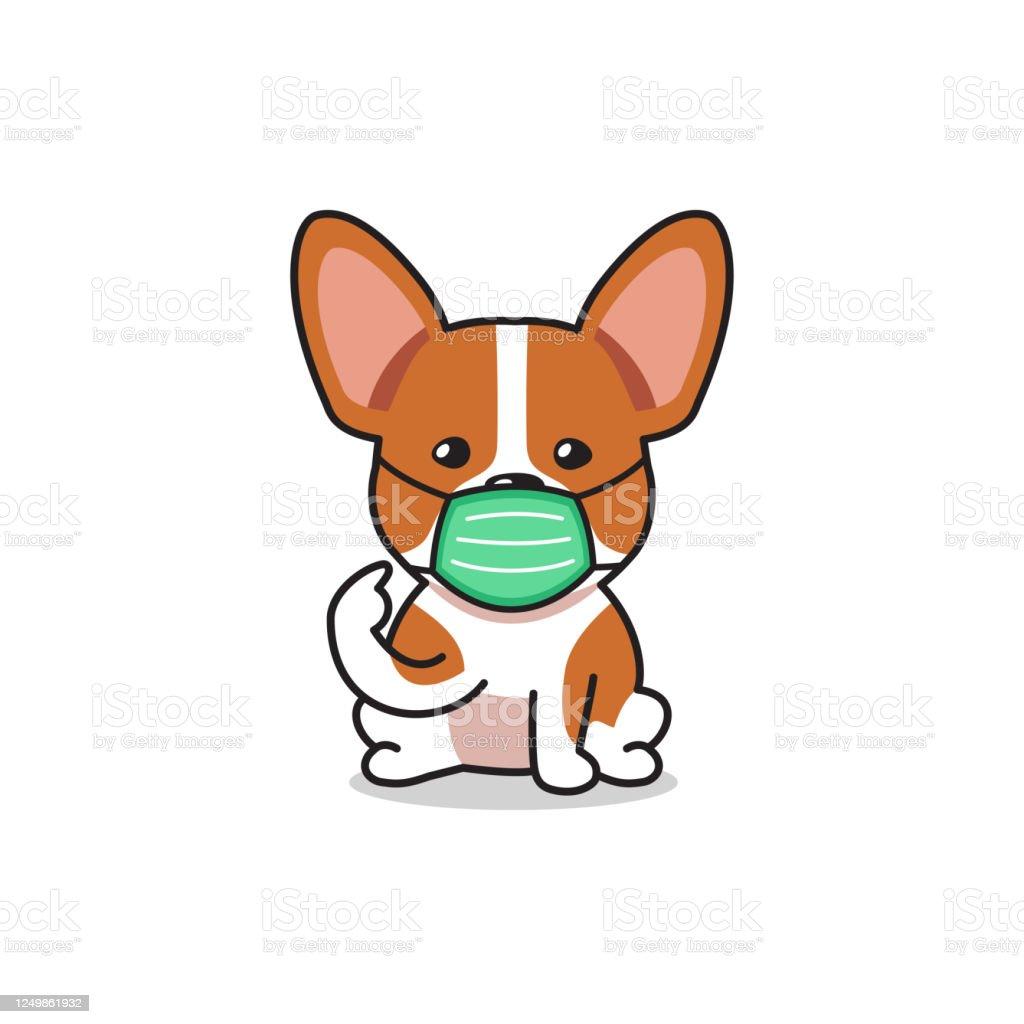 Cartoon Character Corgi Dog Wearing Protective Face Mask Stock