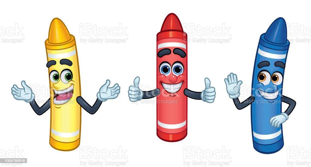 3 cartoon Charakter Buntstifte: rot, gelb und Blue_Vector Abbildung EPS 10 – Vektorgrafik