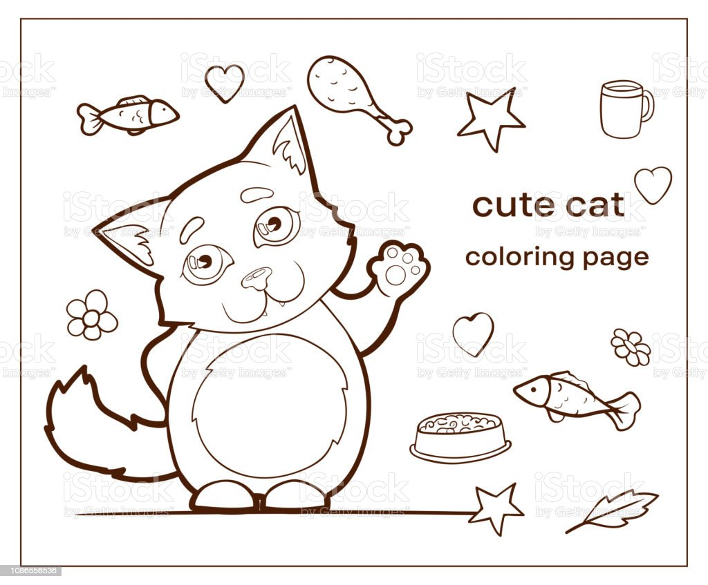 Cartoon Character Cute Cat Coloring Page Kitty Stock ...