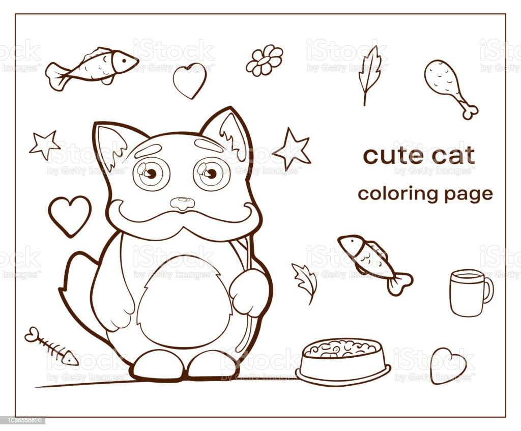 Cizgi Film Karakteri Sevimli Kedi Boyama Sayfasi Kitty Stok Vektor