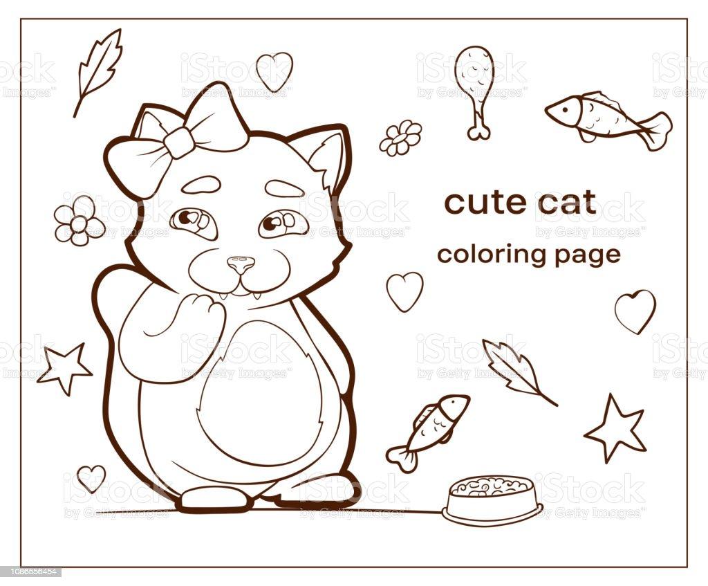 Cartoon Charakter Süße Katze Färbung Seite Welpen Stock Vektor Art