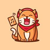 istock cartoon character cute Cat listening to music 1286674110