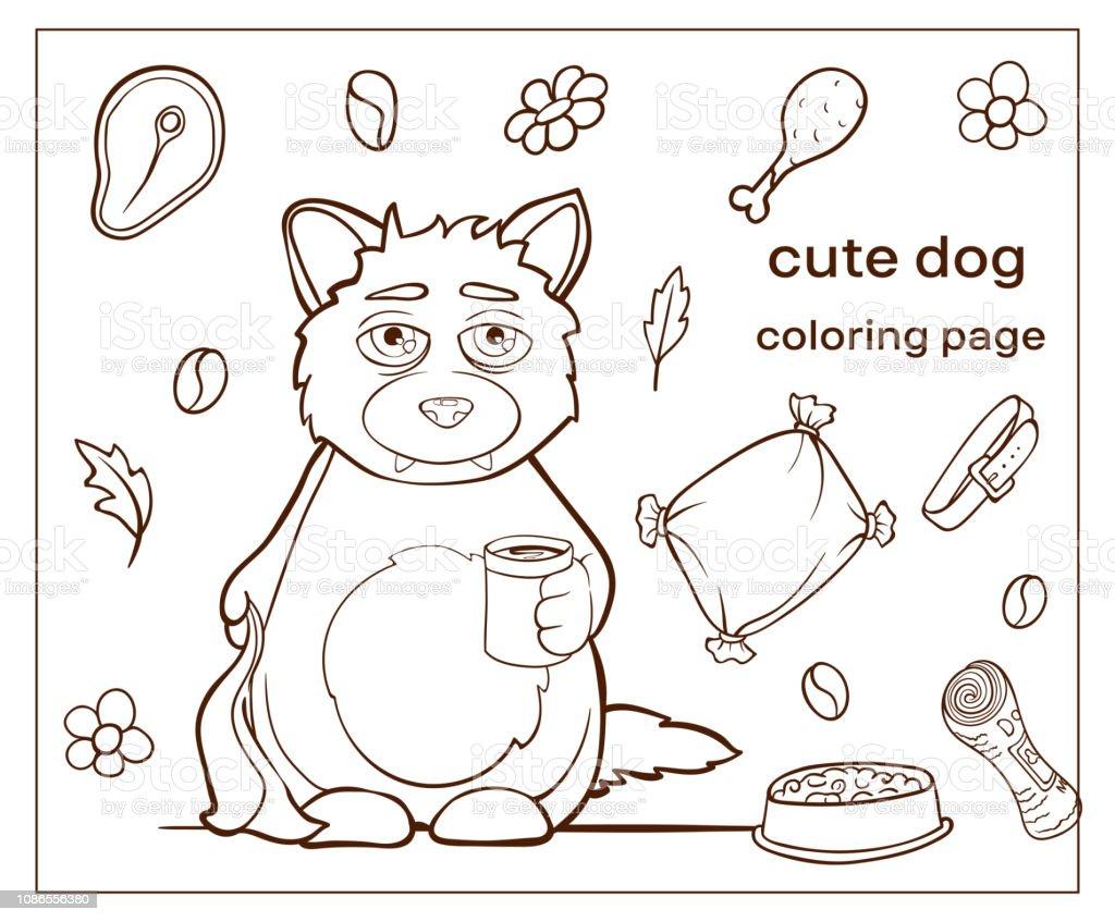 Chien Mignon De Personnage De Dessin Anime Coloriage Page Chiot