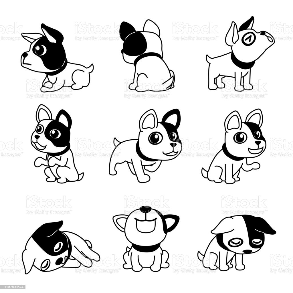Cartoon Character Cute French Bulldog Poses Stock Illustration