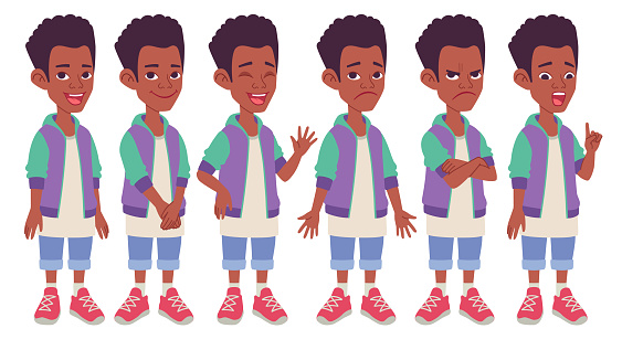 Set of different standing poses, gestures and facial expressions. Vector illustration isolated on white background