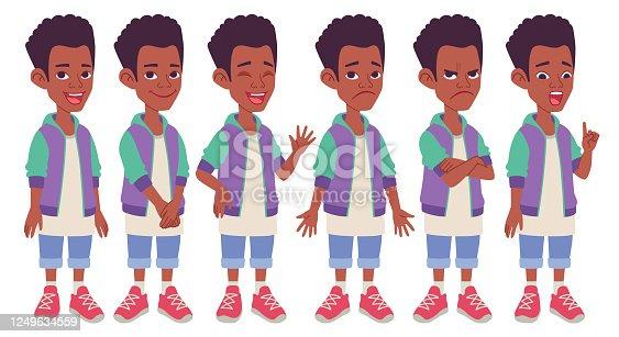 istock Cartoon character design. Black African American boy model sheet. 1249634559