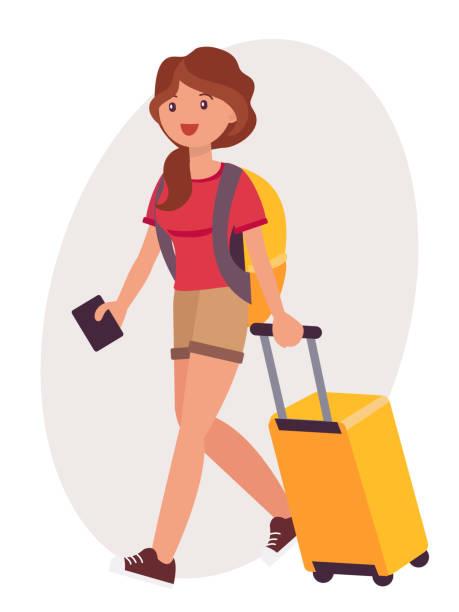 ilustrações de stock, clip art, desenhos animados e ícones de cartoon character design female travel with luggage and passport on the way to airport - puxar cabelos