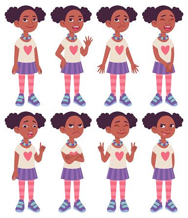 Cartoon character design model sheet. Black African American girl.