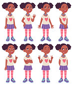 istock Cartoon character design model sheet. Black African American girl. 1249634583