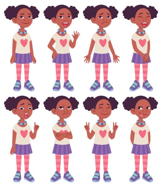 ilustraciones, imágenes clip art, dibujos animados e iconos de stock de hoja de modelo de diseño de caracteres de dibujos animados. chica afroamericana negra. - cabello negro
