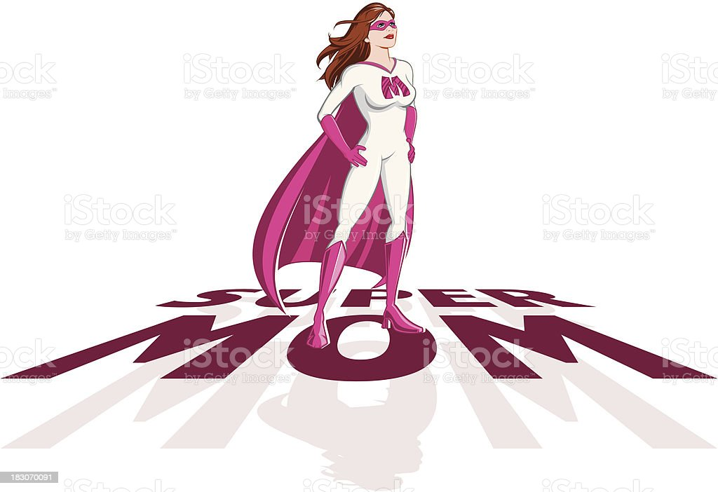 Cartoon character drawing of Supermom heroine and text vector art illustration