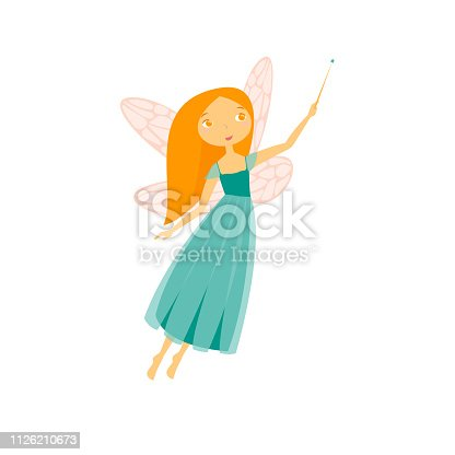 Cartoon Character Fairiy Girl Cute Fantasy Magic Women with Wings and Stick Concept Element Flat Design Style. Vector illustration