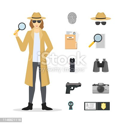 Cartoon Character Female Detective and Icon Set Include of Gun, Camera, Badge, Magnifier and Fingerprint. Vector illustration