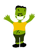 cartoon character for halloween in covid-19 pandemic. scary cute frankenstein creature in protective face mask.