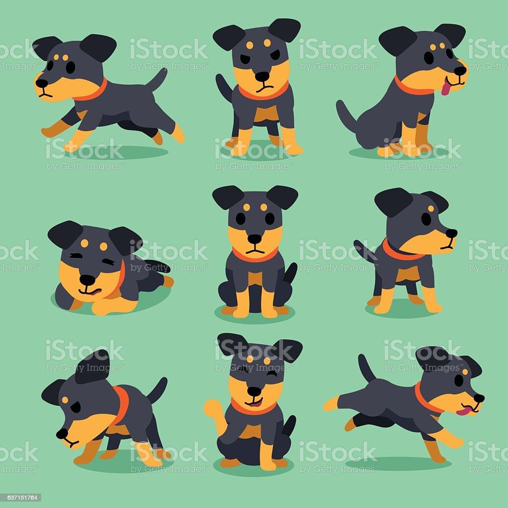 Cartoon character german hunting terrier dog poses vector art illustration