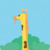 Cartoon character, giraffe portrait with tounge on sky background.