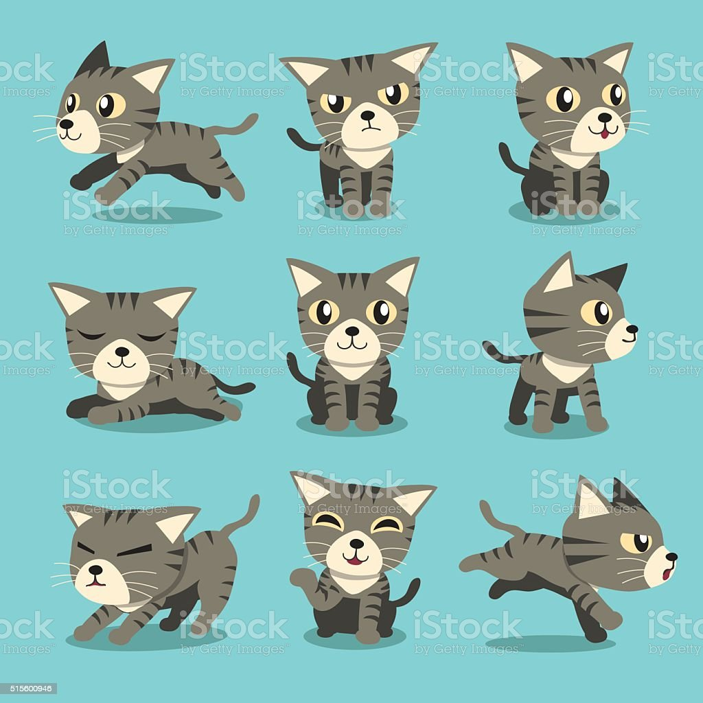 Cartoon character grey tabby cat poses vector art illustration