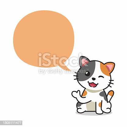 istock Cartoon character happy cat with speech bubble 1305111477