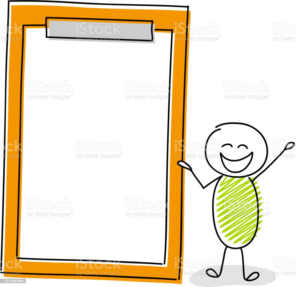 Cartoon character holding clipboard with copyspace. Vector. vector art illustration