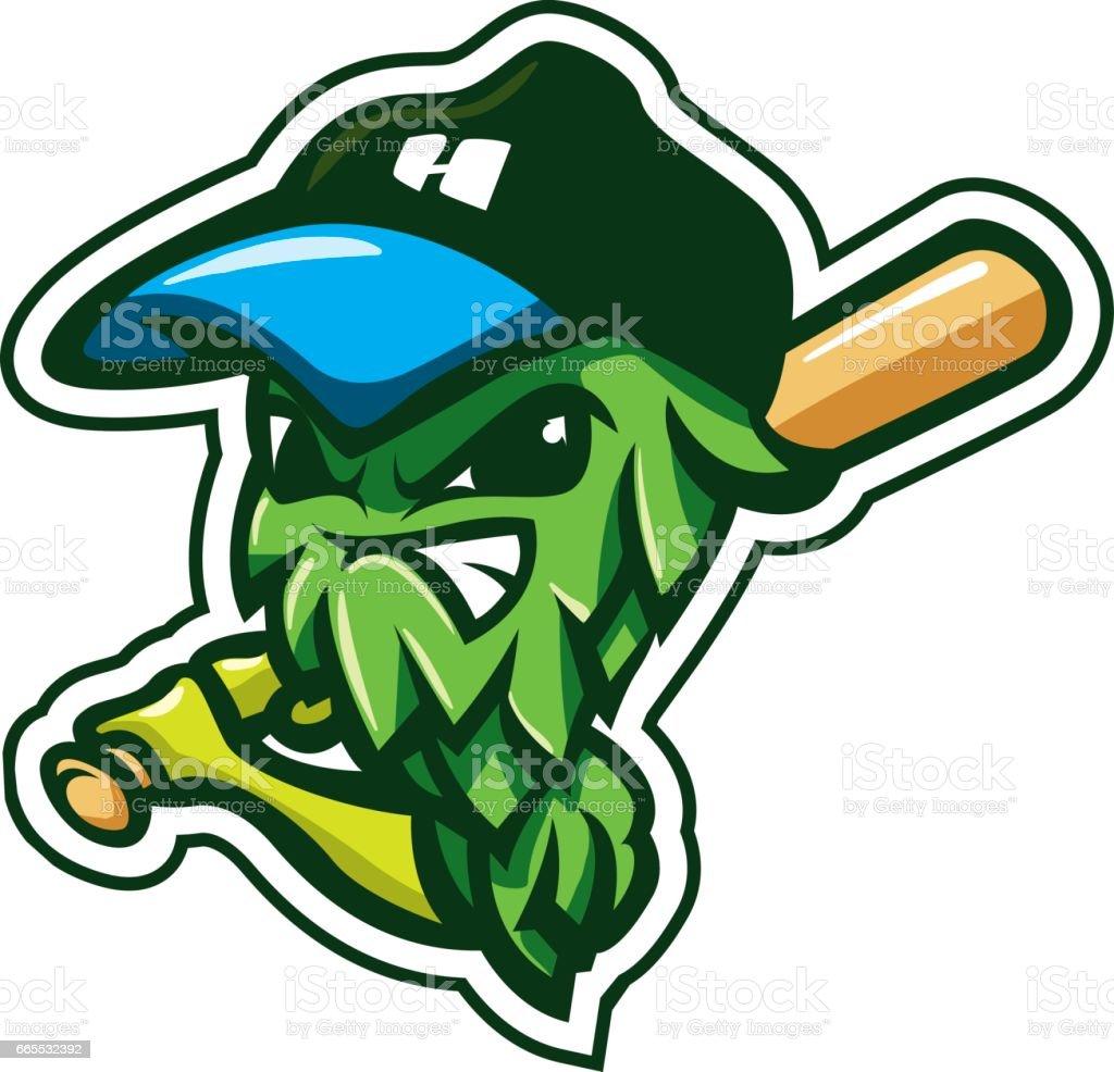 Cartoon Character Hop Sport Mascot Logo Badge Label Brewery Beer vector art illustration