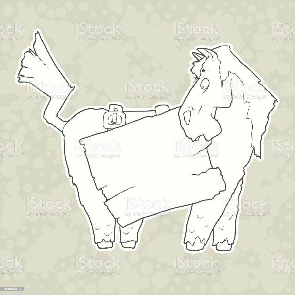 カットイラストのキャラクター馬にウッドポスター絶縁に無地のバック