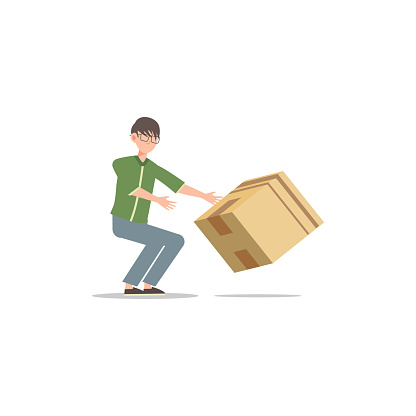 Cartoon character illustration of young man courier delivery trying to save the falling box. Flat design isolated on white.