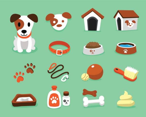 卡通人物傑克羅素梗狗和配件套 - 個人飾物 幅插畫檔、美工圖案、卡通及圖標