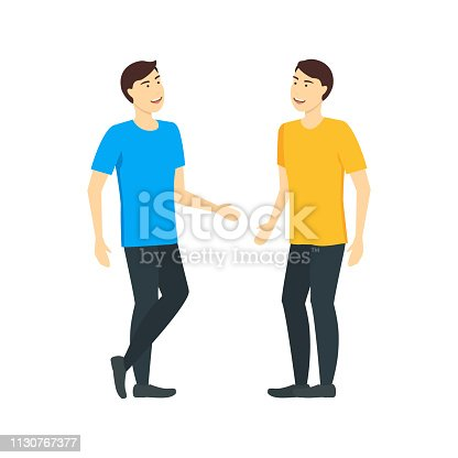 Cartoon Character Man Talking to a Friend Concept Element Flat Design Style. Vector illustration