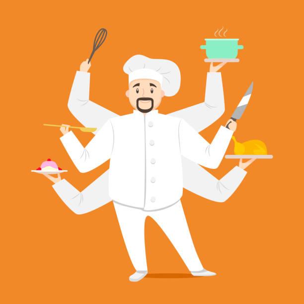 ilustraciones, imágenes clip art, dibujos animados e iconos de stock de chef de dibujos animados carácter multitarea de cocina. vector de - busy restaurant kitchen