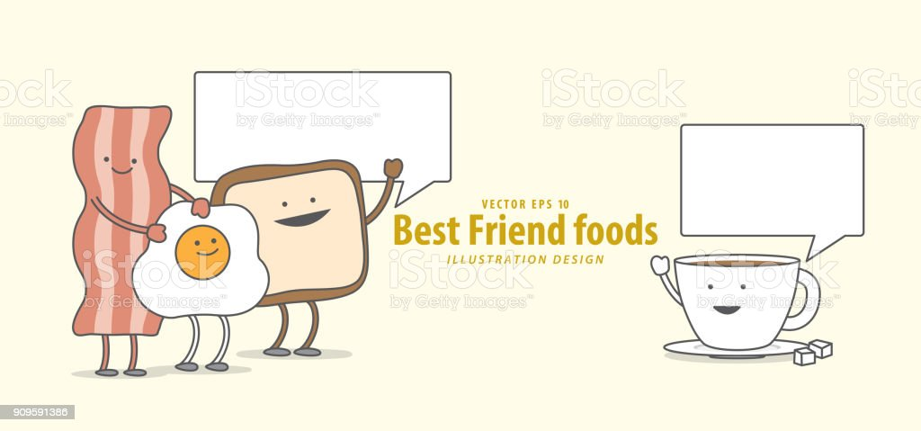 Cartoon character of Bacon, Fried egg, Toast, Coffee, (Breakfast) talk together illustration vector on pale yellow background. Best friend foods concept. vector art illustration