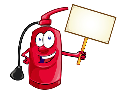 Cartoon Character of fire extinguisher with signboard