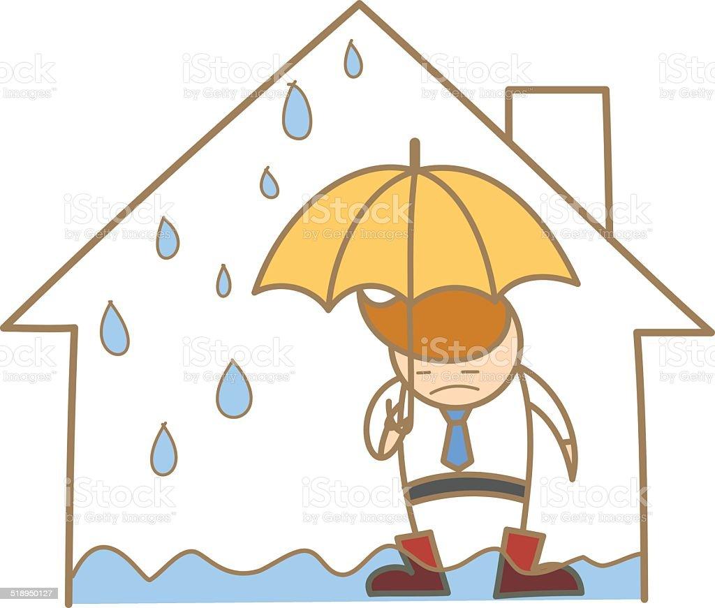 Comic Figur Der Mann Im Wasser Dach Haus Lizenzfreies Comicfigur Der Mann  Im Wasser Dach