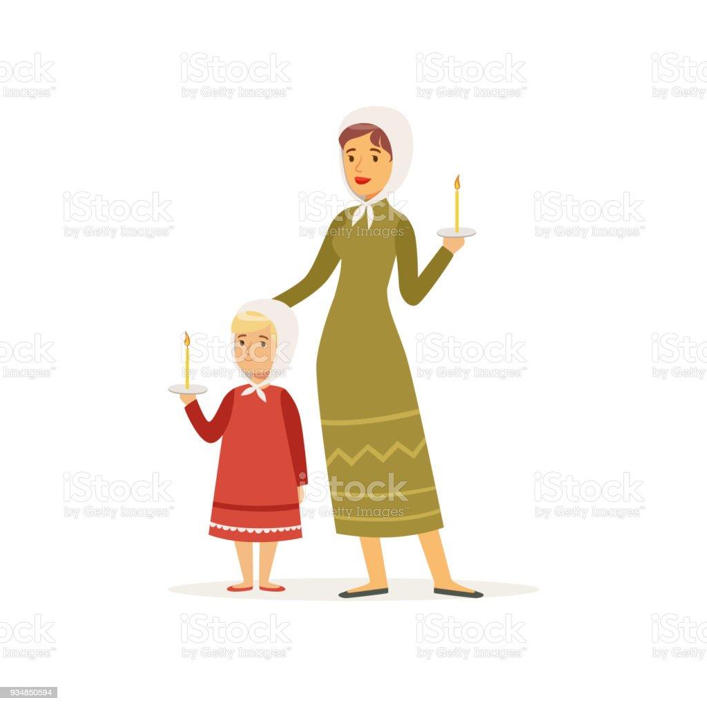 Cartoon Charakter Der Mutter Und Ihrer Tochter In Lange Kleider Und ...