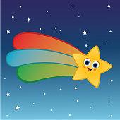 Cartoon character of shooting star.