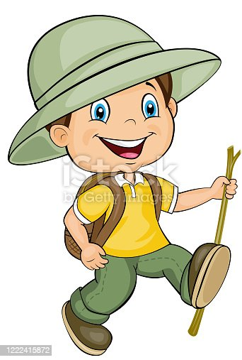 istock Cartoon character of the happy walking boy. Vector clip art. 1222415872