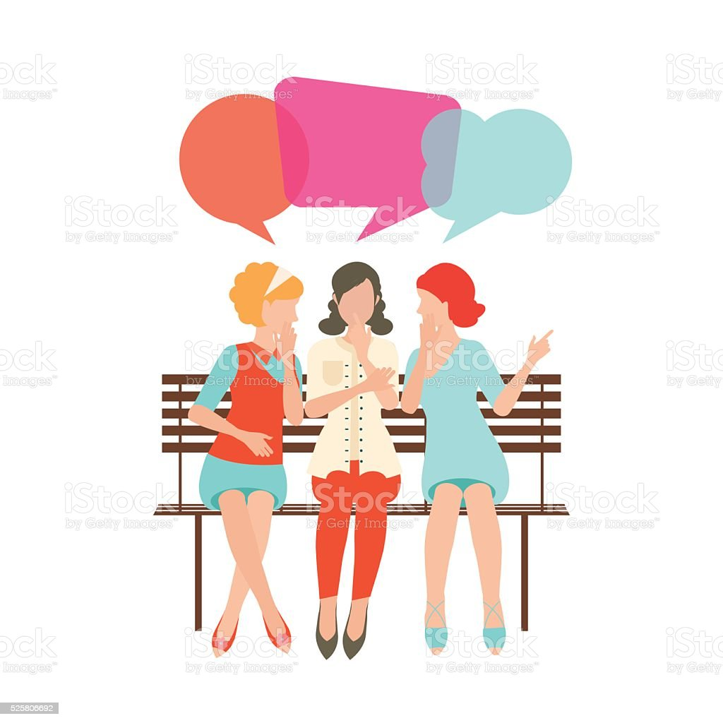 Cartoon character of women with colorful dialog speech bubbles. vector art illustration