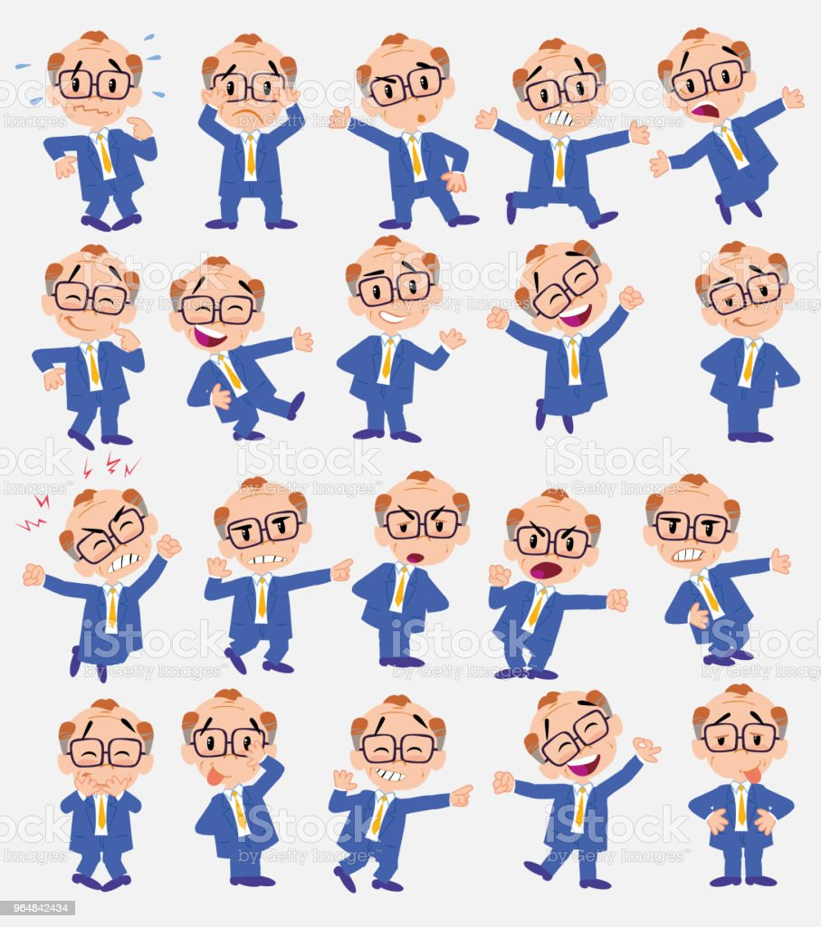 Cartoon character old businessman with glasses. Set with different postures, attitudes and poses, doing different activities in isolated vector illustrations. royalty-free cartoon character old businessman with glasses set with different postures attitudes and poses doing different activities in isolated vector illustrations stock illustration - download image now