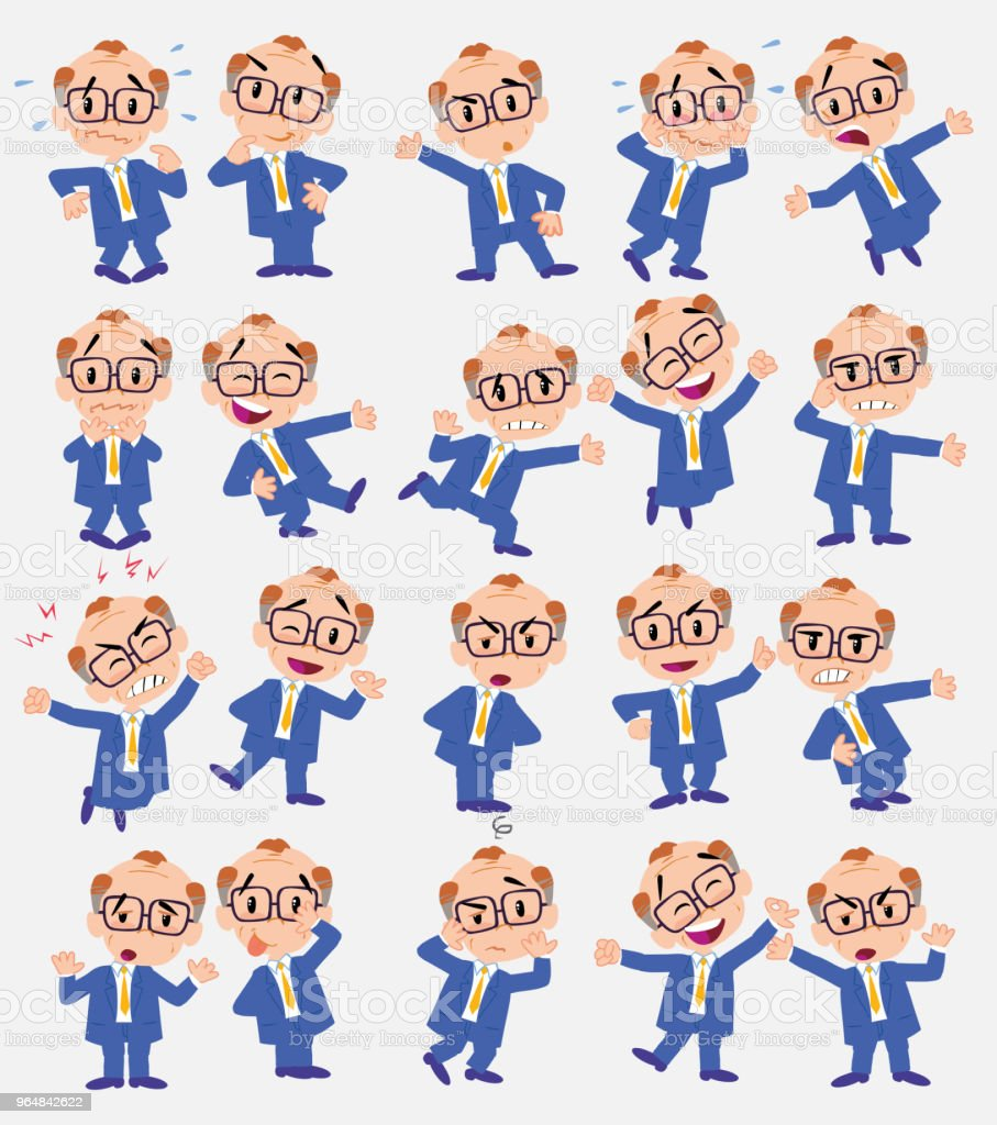 Cartoon character old businessman with glasses. Set with different postures, attitudes and poses, doing different activities in isolated vector illustrations. royalty-free cartoon character old businessman with glasses set with different postures attitudes and poses doing different activities in isolated vector illustrations stock vector art & more images of adult