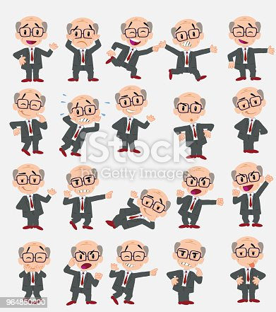 Cartoon Character Old Businessman With Glasses Set With Different Postures Attitudes And Poses Doing Different Activities In Isolated Vector Illustrations Stock Vector Art & More Images of Adult 964850200