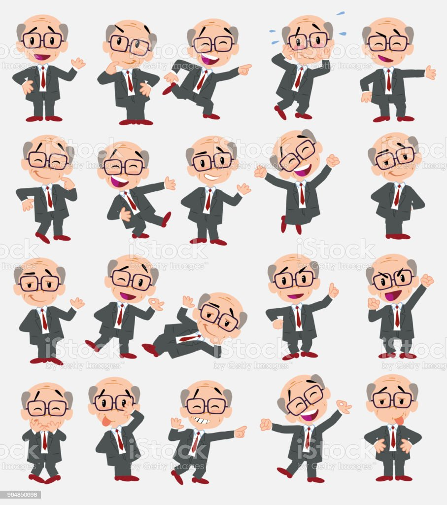 Cartoon character old businessman with glasses. Set with different postures, attitudes and poses, always in positive attitude, doing different activities in vector vector illustrations. royalty-free cartoon character old businessman with glasses set with different postures attitudes and poses always in positive attitude doing different activities in vector vector illustrations stock vector art & more images of adult