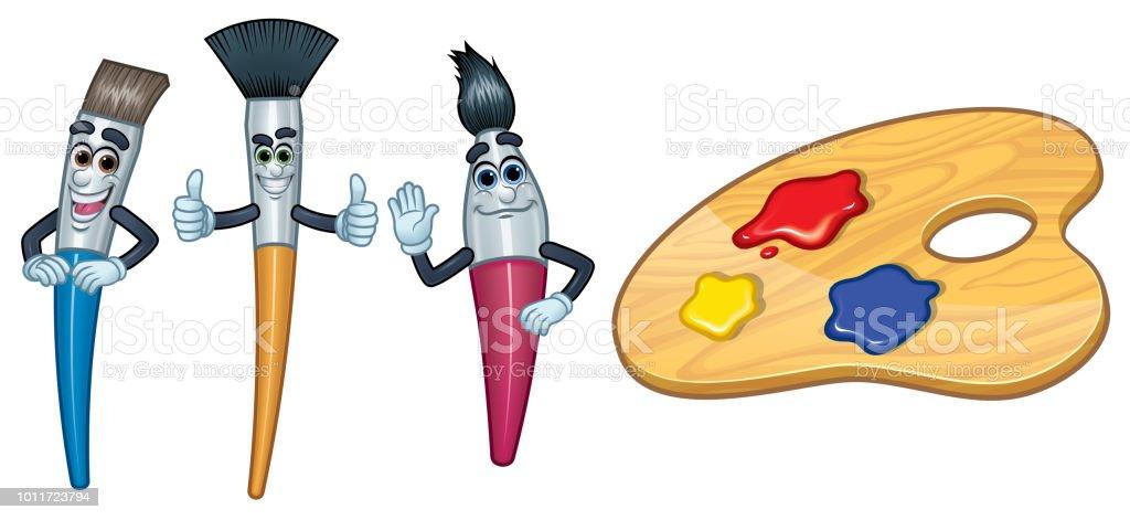 3 Cartoon Charakter Pinsel und Farbe Palette_Vector Illustration EPS 10 – Vektorgrafik