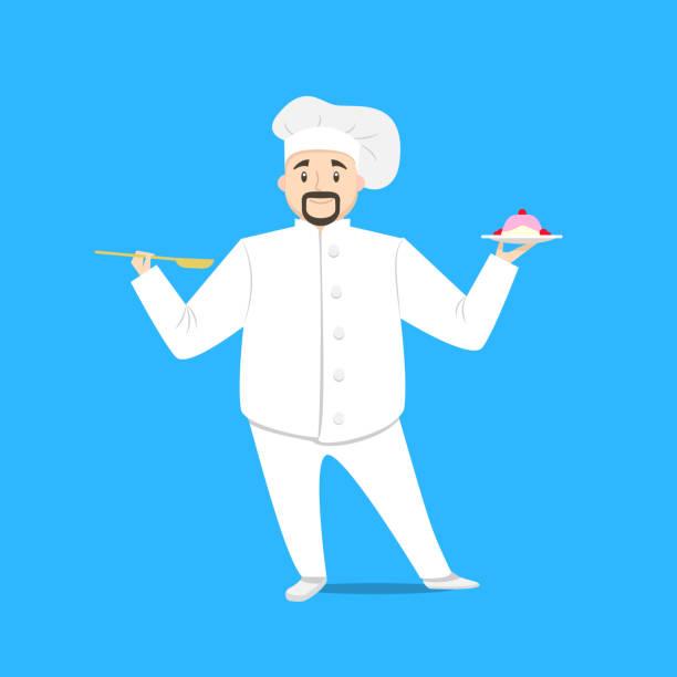 ilustraciones, imágenes clip art, dibujos animados e iconos de stock de personaje de cartoon person chef cocinando en un azul. vector - busy restaurant kitchen