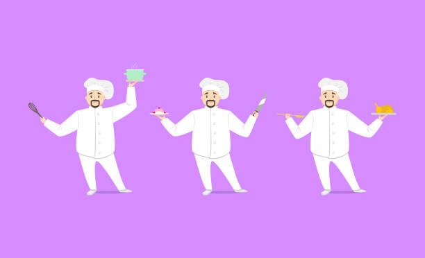 ilustraciones, imágenes clip art, dibujos animados e iconos de stock de personaje de dibujos animados persona chef cocina set. vector - busy restaurant kitchen