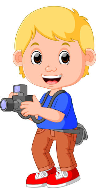 M A S K Cartoon Characters : Royalty free funny photographer characters holding a
