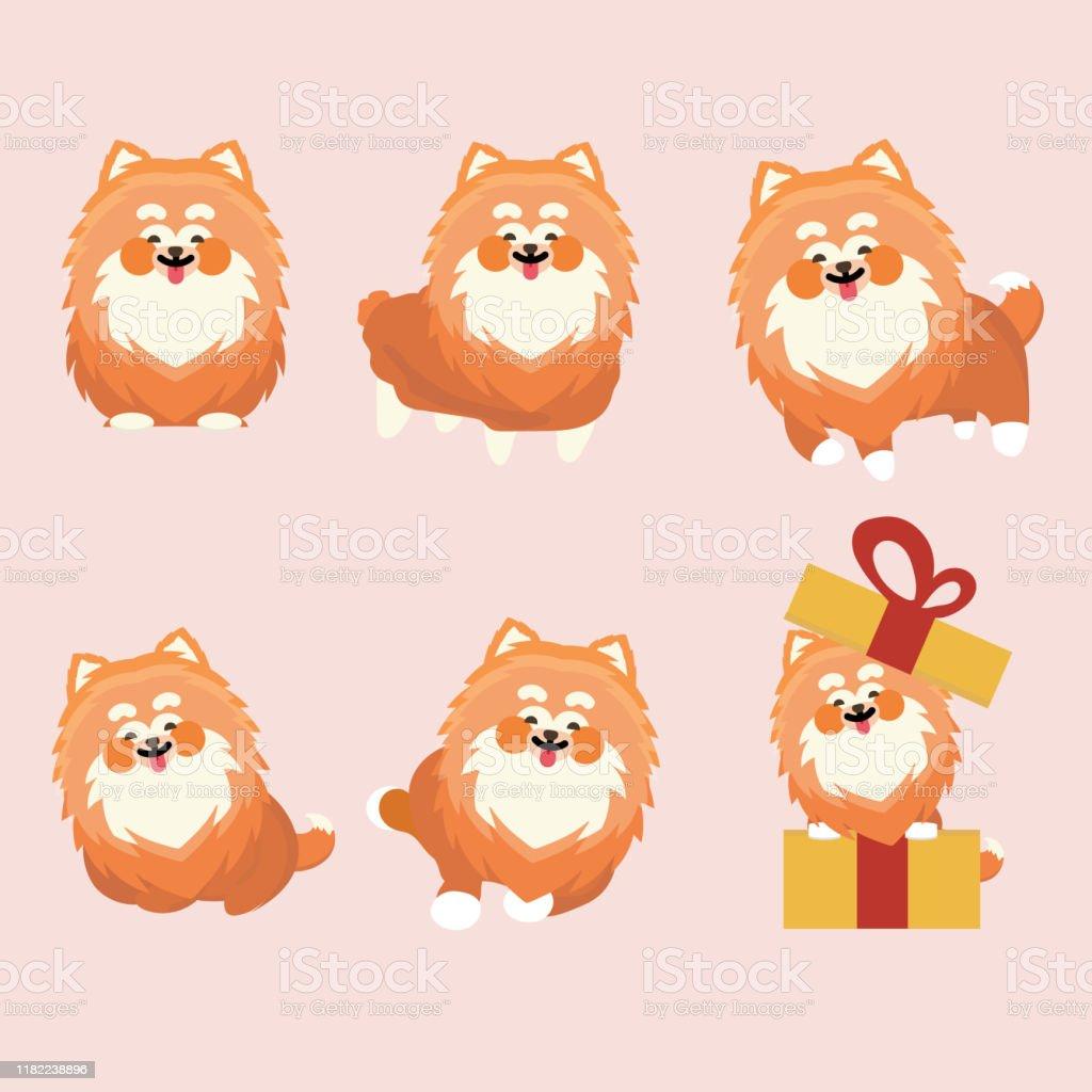 Cartoon Character Pomeranian Dog Poses On Pastel Background Stock Illustration Download Image Now Istock