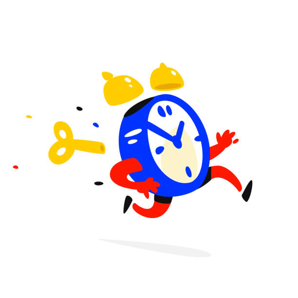 ilustrações de stock, clip art, desenhos animados e ícones de cartoon character running alarm clock. vector illustration. time is up. the clock is running. image is isolated on white background. flat illustration for banner, print and website. mascot company. - important